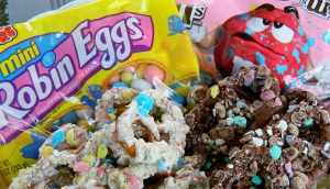 homemade chocolate covered pretzels using Easter candy.
