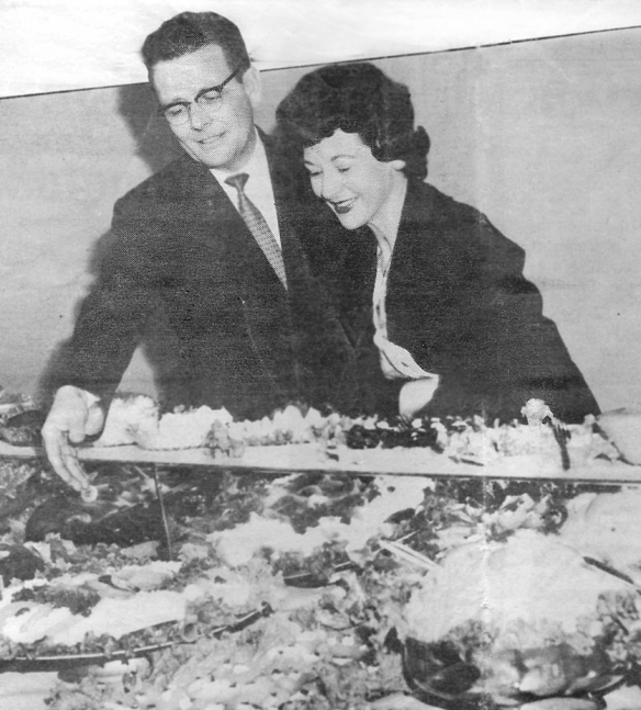 Johnny Garneau with KDKA-TV's Jean Connelly, Pittsburgh,1961