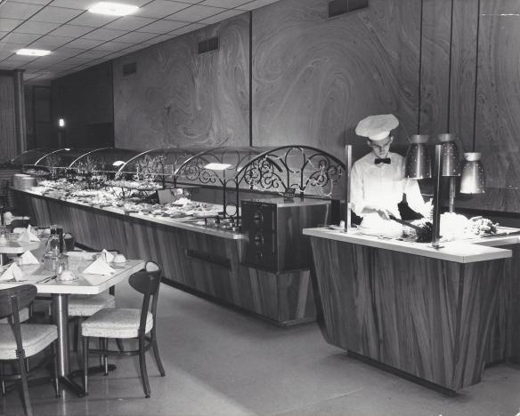 The sneeze guard at Johnny Garneau's Smorgaboard, 1958, Monroeville, PA