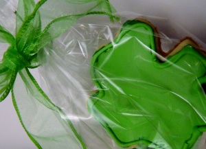 Package the shamrock cookies in cellophane bags with ribbon