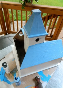 Remodeling the birdhouse after three years of occupation.